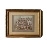 ANTIQUE WORKERS WOOD FLAME PHOTO