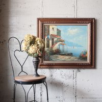 """VILLAGE SEASIDE"" CANVAS PAINTING VINTAGE PICTURE"