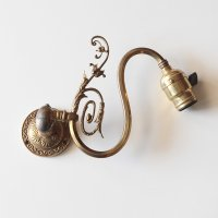 ANTIQUE SWING ARM BRASS WALL SCONCE