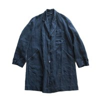ANTIQUE FRENCH INDIGO LINEN WORK COAT (UNISEX)