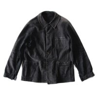 1940's FADED BLACK MOLESKIN FRENCH WORK JACKET (MEDIUM)