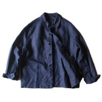 N.O.S 1940's FRENCH INDIGO LINEN WORK JACKET (LARGE)