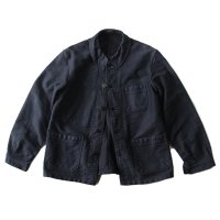 1950's FRENCH BLACK MOLESKIN WORK JACKET (MEDIUM) MINT CONDITION