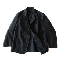 1940's FRENCH BLACK MOLESKIN BACKSTRAP WORK JACKET (LARGE) MINT CONDITION