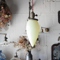ANTIQUE TEARDROP YELLOW GLASS SHADE