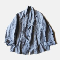 1930's FRENCH HOUNDSTOOTH COTTON COOK JACKET (MEDIUM)