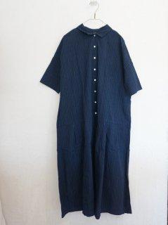 ヤンマ産業 会津木綿襟付きウエスト切り替えワンピース2色丈10�+