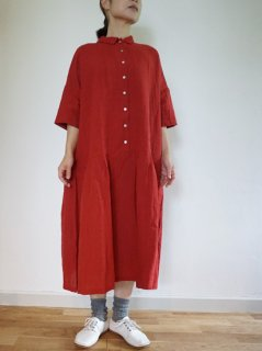 ヤンマ産業 リネン襟付きウエスト切り替えワンピース3色