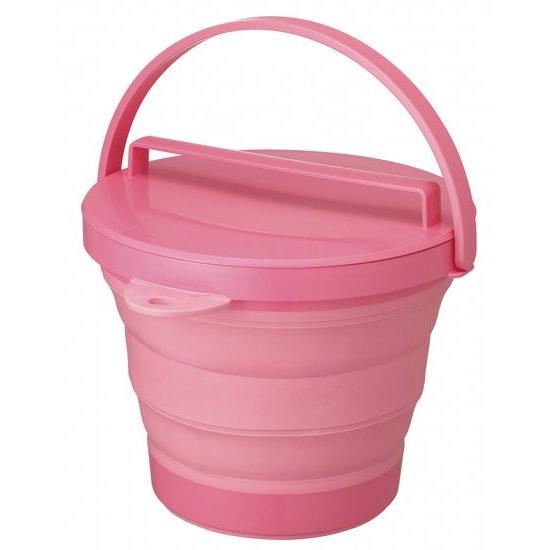 ソフトバケツ(フタ付き) ピンク