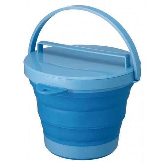 ソフトバケツ(フタ付き) ブルー