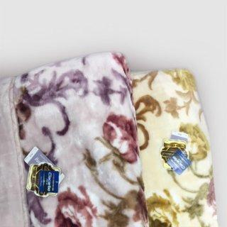 チンチラヘム二枚合わせ花柄毛布 中国製