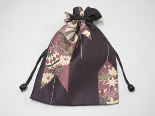 巾着 リバーシブル/紫系1