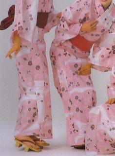 浴衣 二色使い広巾織 花かすみ柄