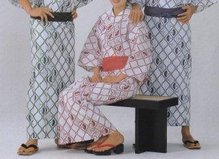 浴衣 二色使い広巾織 フチ取り扇柄