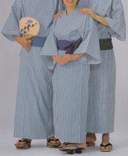 浴衣 二色使い広巾織 フチ取り吉原柄