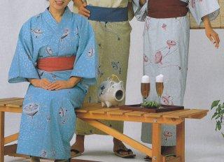 浴衣 三色使い広巾織 松葉にコマ柄