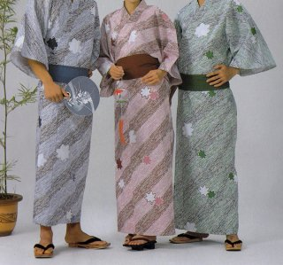 浴衣 二色使い広巾織 流水もみじ柄