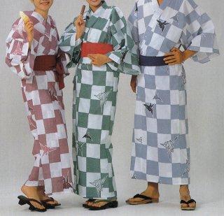 浴衣 二色使い広巾織 折鶴柄