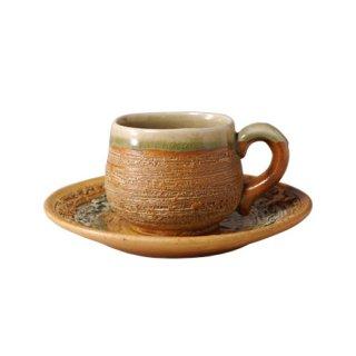 伊賀釉角 コーヒー碗皿(NWA-29)