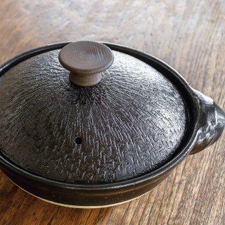 取手もいい土鍋 黒釉/木つまみ