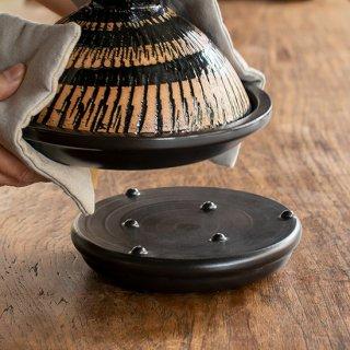 陶製鍋敷 黒釉(NKH-51)