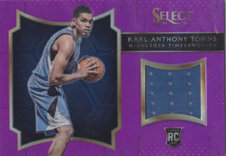 2015-16 Panini Select Karl-Anthony Towns Rookie Jersey Card ポニーランド M様