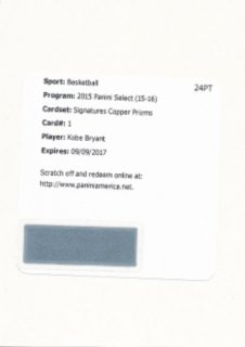 2015-16 PANINI SELECT Copper Auto Kobe Bryant【49枚限定】 Rookie Star RS9様