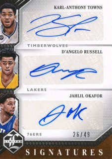 2015-16 PANINI LIMITED Triple Auto Towns Russell Okafor 【49枚限定】Rookie Star RS50様