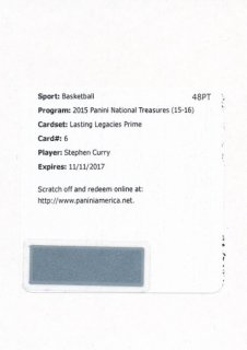 2015-16 PANINI NATIONAL TREASURES Patch Auto Stephen Curry 【10枚限定】Rookie Star RS61様