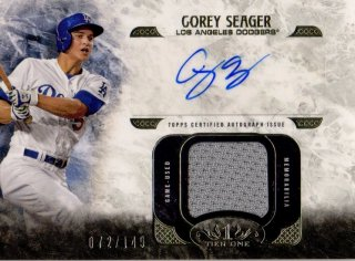 2016 Topps Tier One Autographed Relic Card Corey Seager 【149枚限定】 梅田店 ミスターミニオン様