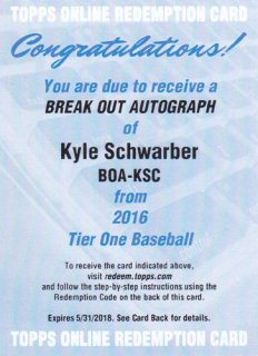 2016 Tiel One Kyle Schwarber Break Out Autograph card ポニーランド MZ様