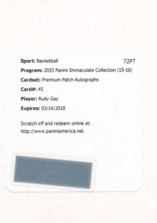 2015-16 PANINI IMMACULATE COLLECTION Patch Auto Rudy Gay 【25枚限定】Rookie Star RS61様