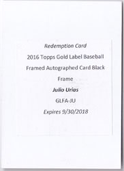 2016 Topps Gold Label Julio Urias Black Flamed Auto 50枚限定 ポニーランド FF様
