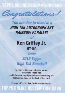 2016 Topps High Tek ASIA Ken Griffey Jr Sky Rainbow Parallel Auto 20枚限定 ポニーランド YY様