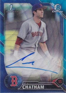 2016 Bowman Draft C.J Chatham Blue Wave Refractor Auto card 150枚限定 ポニーランド 水越様