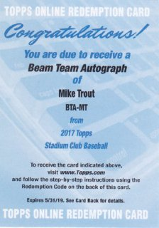 2017 Stadium Club Mike Trout Beam Team Auto 10枚限定 ポニーランド MZ様
