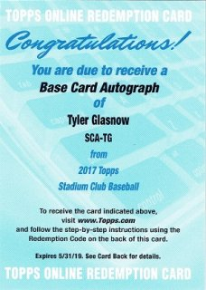 2017 TOPPS STADIUM CLUB Autograph Card Tyler Glasnow / MINT立川店 トミタロウ様