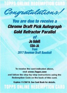 2017 TOPPS BOWMAN DRAFT Chrome Draft Pick Autographs Gold Joe Adell【50枚限定】 / MINT立川店 Sheed様