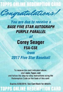 2017 Topps Five Star Autograph Purple Corey Seager 【50枚限定】ミント渋谷店/ふーぷす様