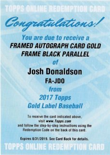 2017 TOPPS GOLD LABEL Framed Autographs Black Josh Donaldson【75枚限定】/ MINT千葉店 庄司尚人様