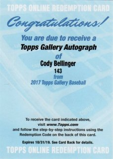 2017 TOPPS GALLERY Autographs Cody Bellinger/ MINT千葉店 イチロー引きたい様