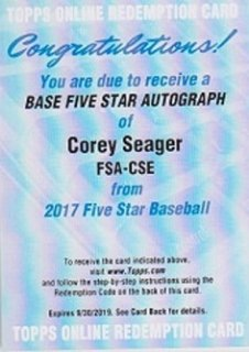 2017 Topps Five Star Corey Seager Auto ポニーランド MM様