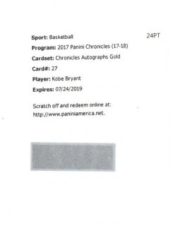 2017-18 PANINI CHRONICLES Autographs Gold #27 Kobe Bryant【10枚限定】 / mint吉祥寺店 ヒロ様