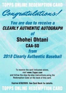 2018 Topps Cleary Authentic Autograph Shohei Ohtani / MINT新宿店 赤うっちー様