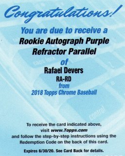 2018 TOPPS TOPPS CHROME Rookie Autograhp Purple Refractor Paralle「Rafael Devers」 ミントJAC小田原店 マーくん 様