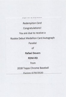 2018 TOPPS CHROME Rookie Debut Medallion Card Autograph Parallel Rafael Devers/ MINT千葉店 Tony様