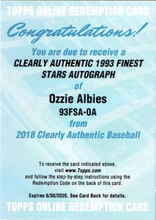 2018 Topps Clearly Authentic 1993 Finest Stars Autograph Ozzie Albies MINT梅田店 ソニック様