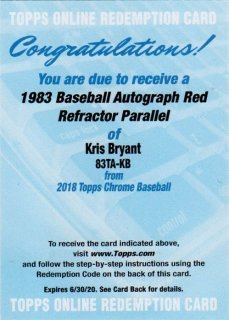2018 TOPPS CHROME '83 Topps Autographs Red Refractors Kris Bryant【5枚限定】/ MINT千葉店 WT様