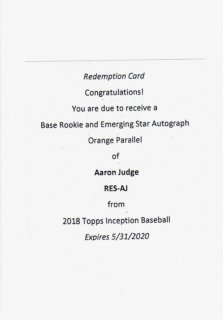 2018 TOPPS INCEPTION Rookies and Emerging Stars Autographs Orange Aaron Judge【50枚限定】/ MINT千葉店 ソニック様