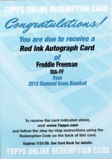 2018 Topps Diamond Icons Red Ink Autograph Freddie Freeman MINT梅田店 ミスターミニオン様